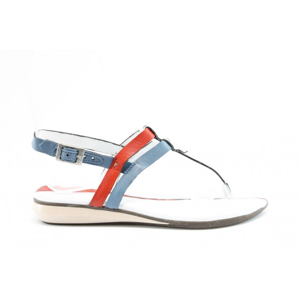 Български равни дамски сандали естествена кожа МЙ 24176Бял
