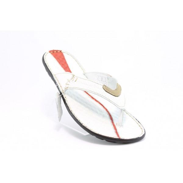 Мъжки чехли естествена кожа МЙ71162Бял