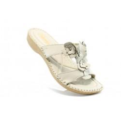 Дамски чехли естествена кожа ГР 4056Бял