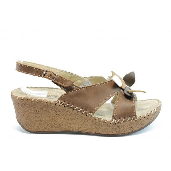 Дамски сандали естествена кожа ГР 1224Кафе