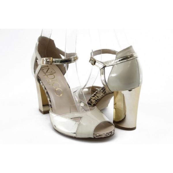 Дамски сандали на висок ток ИО 1470 бежово-злато