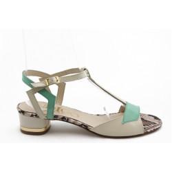 Дамски сандали на нисък ток ИО 1452беж.зелен