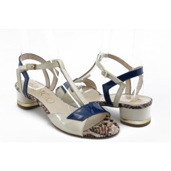 Дамски сандали на нисък ток ИО 1452беж.син
