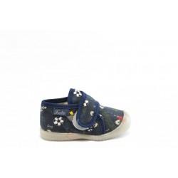 Детски пантофки с лепенка БО текстилен хастар сини