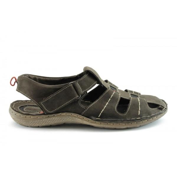 Мъжки анатомични сандали естествена кожа МЙ 71147КАФЕ