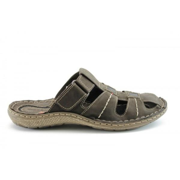 Мъжки анатомични чехли естествена кожа МЙ71148КАФЕ