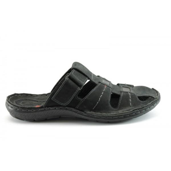 Мъжки анатомични чехли естествена кожа МЙ71148Черен