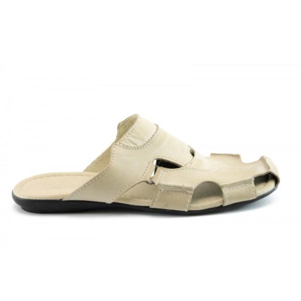 Мъжки чехли естествена кожа МИ119БЕЖ