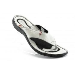 Български анатомични чехли естествена кожа МЙ 71151СИВ