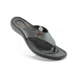 Български анатомични чехли естествена кожа МЙ 71151Черен