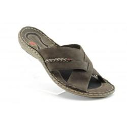 Български анатомични чехли естествена кожа МЙ 71149КАФЕ