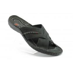 Български анатомични чехли естествена кожа МЙ 71149Черен