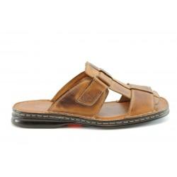 Мъжки чехли естествена кожа КН064КАФЕ