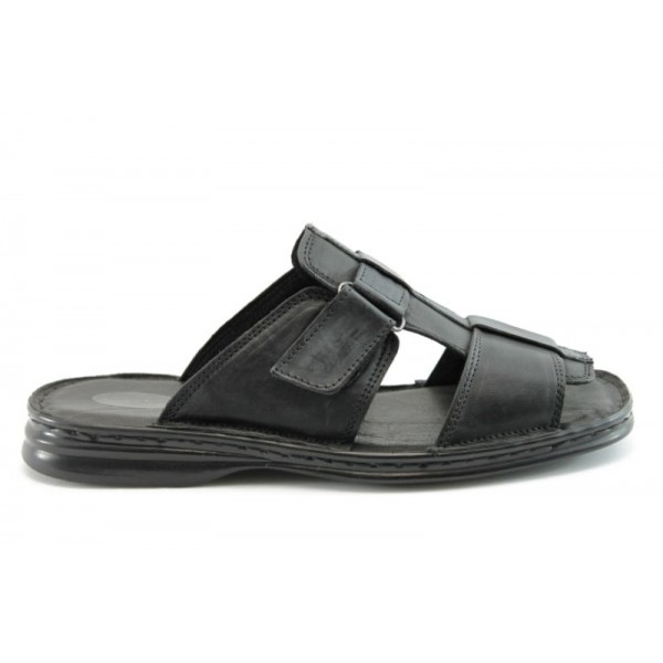 Мъжки чехли естествена кожа КН064Черен