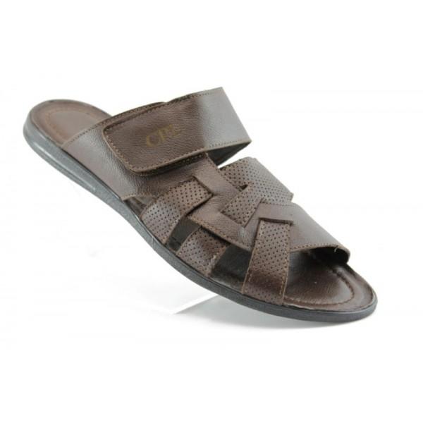 Кафяви мъжки чехли естествена кожа КО 22-14КАФЕ