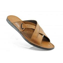 Мъжки чехли естествена кожа КО25-14КАФЕ