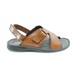 Български анатомични сандали естествена кожа КП 6422Камел