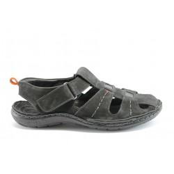 Български анатомични сандали естествена кожа МЙ 71147Черен