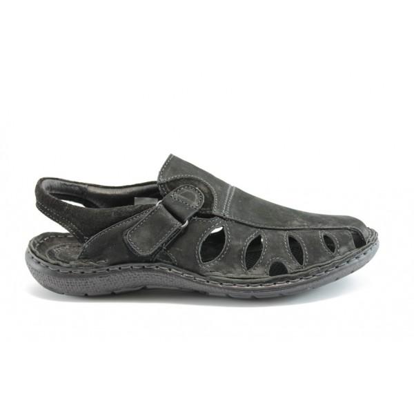 Български анатомични сандали естествена кожа МЙ 71159Черно